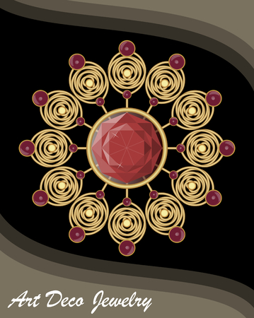 antiquarian: Golden antiquarian jewel in art deco style, filigree gold brooch with red gems ruby or garnet, fashion in victorian style, antique gold jewellery.
