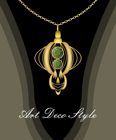 Luxurious art deco pendant with green gems emerald on gold chain, fashion in victorian style, antique golden jewel.