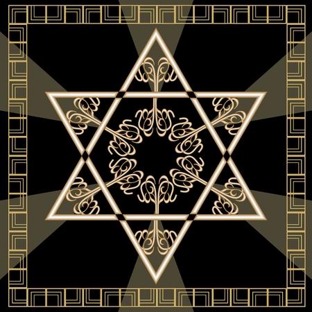 estrella de david: Azulejo de la decoración de la estrella de David con el ornamento geométrico del tejo del vintage en diseño del oro. Símbolo nacional de Israel magen. Davids estrella en el marco de oro.