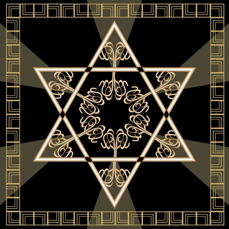 Star of David decoration tile with geometric vintage yew ornament in gold design. Israel national symbol magen. Davids star in golden frame.