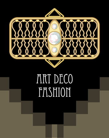gold buckle: Expensive art deco filigree brooch in rectangle composition with diamonds, fashion in victorian style, antique gold jewel, vector EPS 10