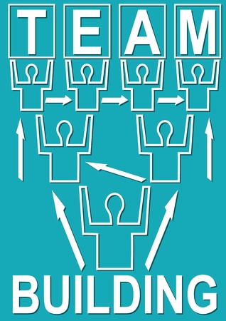 Team building banner with people mono line silhouettes Illustration