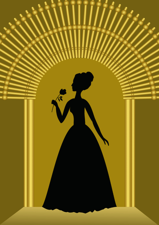 Black lady with flower silhouette in golden gate, luxurious template for ball invitation, announcement in vintage style
