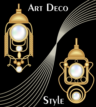 antiquarian: Expensive art deco filigree earrings with pearl, antique gold jewel, fashion in victorian style,