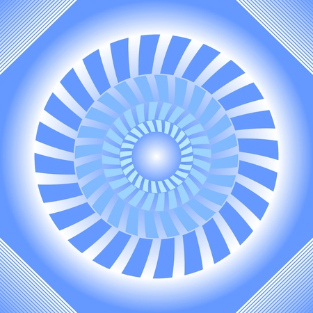Blue tile with circle absteract shape in op-art style with 3d illusion