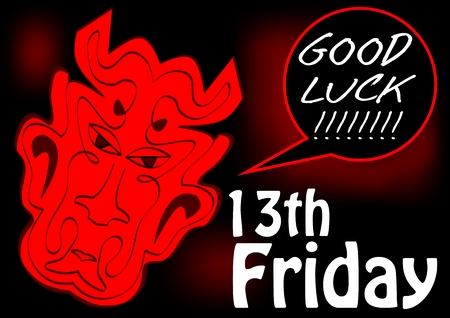 Friday 13th, good luck card with red devil head. Red drawing on black background.