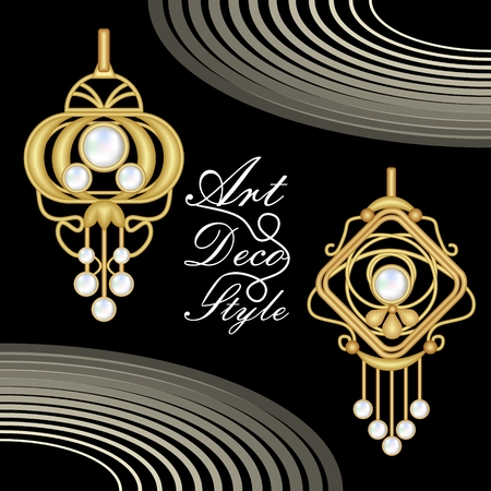 antiquarian: Luxurious art deco filigree jewelry, earrings with pearl, antique gold jewel, fashion in victorian style,