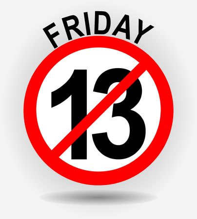 Friday 13th circle emblem with unfortunate number thirteen on gray gradient background with shadow Illustration