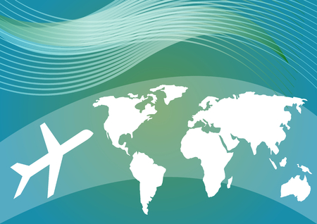 Air travelling background with stylized world map and silhouette of an airplane on blue and green gradient area vector EPS 10