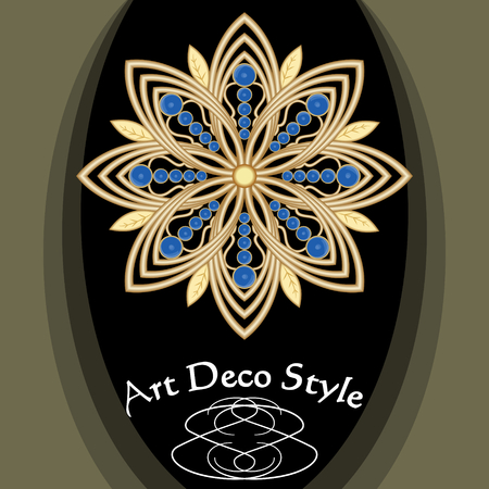 Golden art deco brooch with blue saphire gems, victorian jewelry, antiquarian accessory vector EPS 10 Illustration