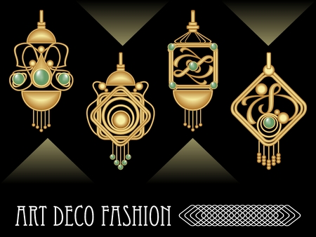 Art deco earrings collection, luxury golden jewel in art nouveau style, elegant expensive jewelry, filigree goldsmith work vector EPS 10 Illustration