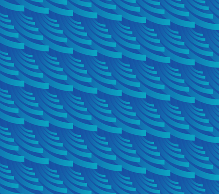 Blue background in optical art style with slant stripes composed of crescents