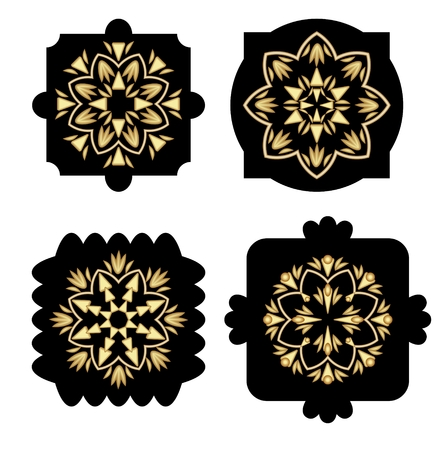 antiquarian: Black shapes with golden antiquarian geometric pattern in art decor style, decoration elements, design template.