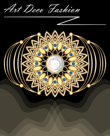 Expensive art deco filigree brooch in with diamonds and small blue sapphires, fashion in victorian style, antique gold jewel, vector EPS 10