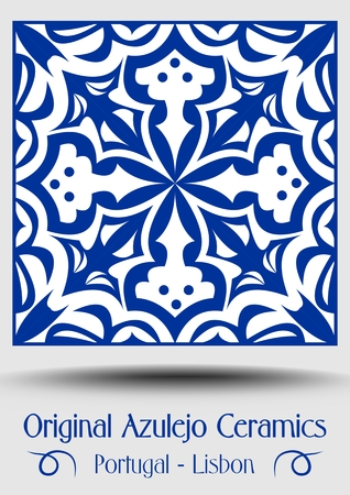 Majolica pottery tile, blue and white azulejo, original traditional Portuguese and Spain decor, vector EPS 10 Illustration