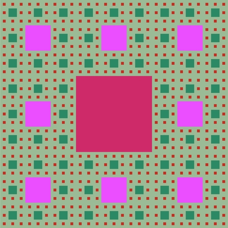 mathematics: Sierpinski carpet patterns in fractal style, multicolored background in green, purple and red colors, vector EPS 10