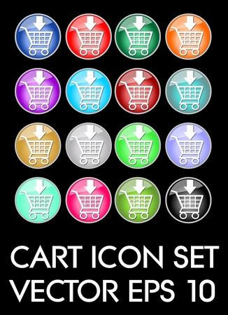 Set of elegant cart icons, circle glass button in different color variants, flat buttons with white cart pictogram