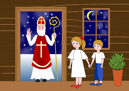 Saint Nicolas in the door of wooden house. Two cute children waiting in room. Little girl holds a little boy by the hand. Stock Illustratie