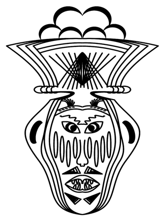 Ritual face monochrome drawing. Horrible face with slanted eyes and bared teeth, curiosum hat on head. Ornamental symmetric sketch in black and white, tribal ancient face mask