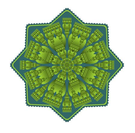 obtaining: Green mandala for energy and vitality obtaining, circle symmetric embossed patterns in star shape, for meditation and concentration exercises, Vector EPS 10