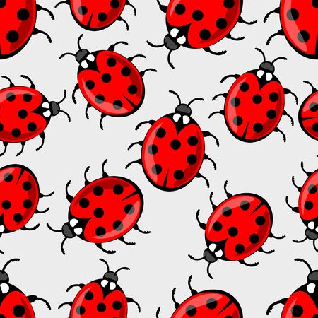 ladybug: Cute ladybug on white background. Vector ladybird seamless background with cute red beetles with seven dots on his wing case. Beautiful textile design. Vector EPS 10