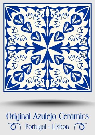 Majolica pottery tile, blue and white azulejo, original traditional Portuguese and Spain decor, vector EPS 10 Illusztráció