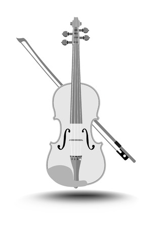 Violin with fiddlestick, gray drawing on white background, isolated music instrument, Vector EPS 10 Illustration