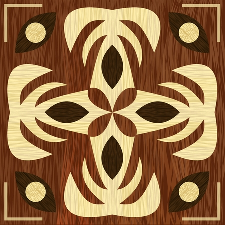 Wooden art decoration template. Wooden inlay, light and dark wood patterns. Veneer textured geometric ornament. Vector EPS 10