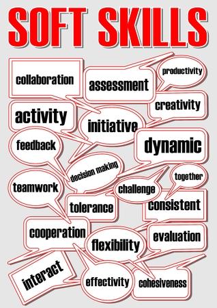 ソフトスキルのスピーチの泡をプレゼンテーションのスライドに吹き出しを含む専門用語、赤と白のベクトル EPS 10、灰色の背景に黒い文字とデザイ