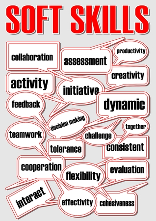 Soft skills presentation slide with speech bubbles, speech bubble contains professional term, red and white design with black letters on grey background, Vector EPS 10