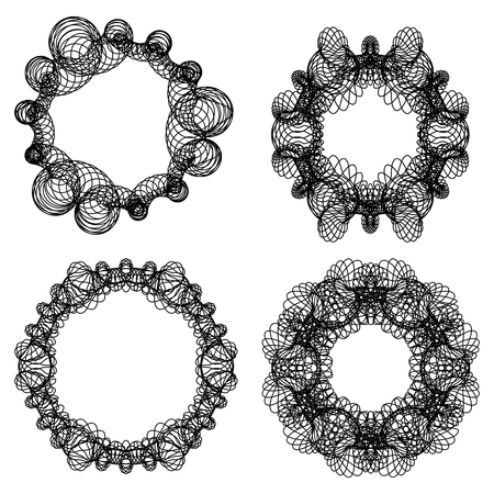Guilloche graphic abstract circle elements, frame set in black line design, fine swirly design elements.