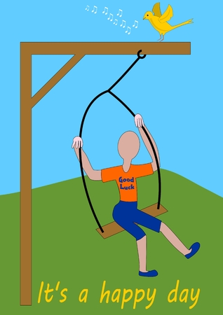 swinging: Swing hangs on the gallows. Figure without the face swings. Small singing yellow bird sits on the gallows.