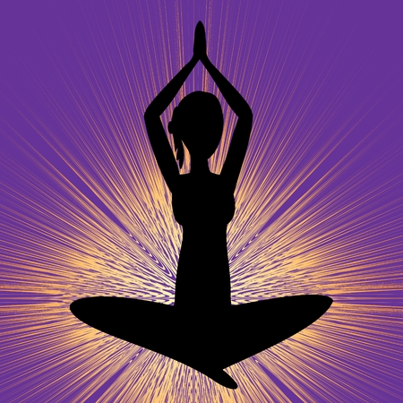 Yoga banner with sitting girl silhouette, black figure on purple background with brilliant yellow rays, vector EPS 10 Illustration