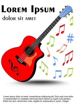 Guitar multicolored in vivid colors, colored uneven distributed musical notes. Leaflet, flyer, book cover template on white background. Stock Photo