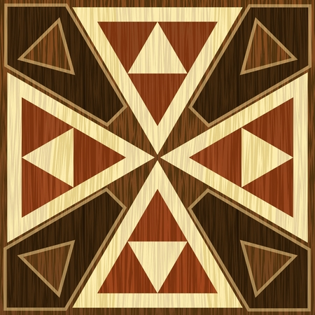 Wooden inlay, light and dark triangle patterns. Veneer textured antique geometric ornament. Wooden art decoration template. Vector EPS 10