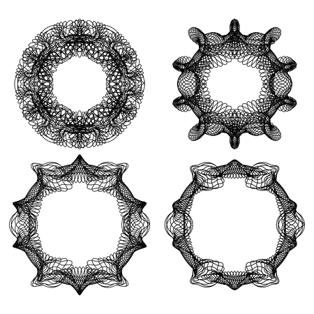 Guilloche abstract circle frame set in black line design, fine swirly design elements, vector EPS 10