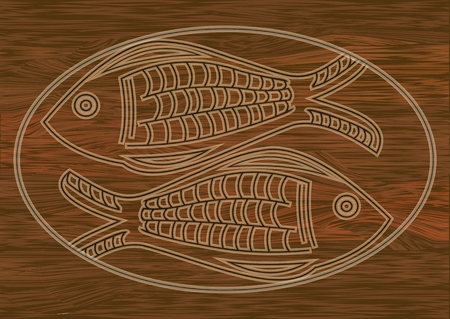Wooden art, two fish carved into dark wood, symbol of christianity, Horoscope sign. Stzylized fish in oval frame. Vector EPS 10 Illustration