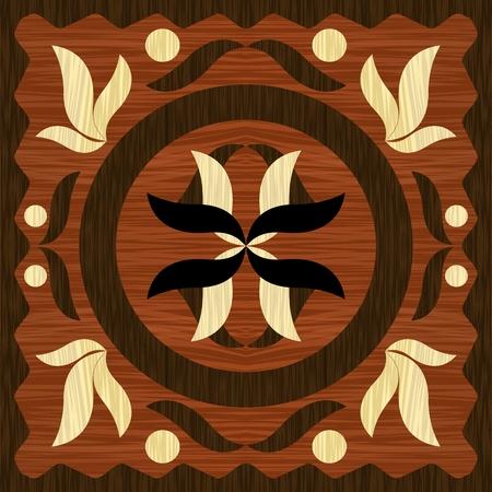 木製アートインレイタイル、ヴィンテージスタイルのダークとライトウッドからの幾何学的な装飾、ベクトルEPS10