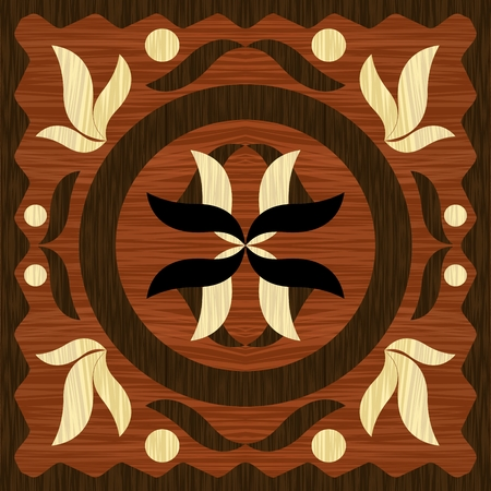 Wooden art inlay tile, geometric ornament from dark and light wood in vintage style, vector EPS10