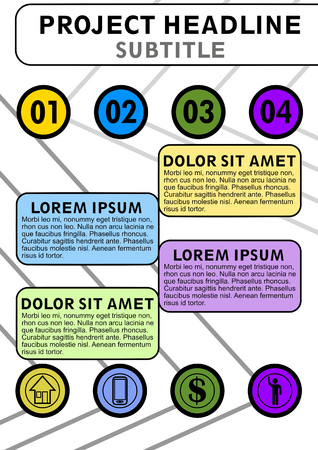 Infographic template, project vizualization, abstract vector with icons and copy space, four multicolored fields available, vector EPS10 向量圖像
