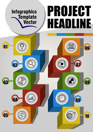 Modern infographic project template with multicolored cubes, icons and numbers, presentation of ten elements on gray gradient background, 3d objects, Vector EPS 10