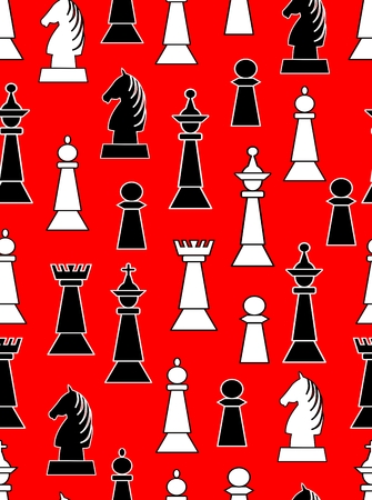 Seamless background with black and white chess pieces on light red background. Vettoriali