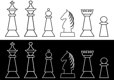 Complete set of black and white chess pieces, king and queen, rook, bishop, knight, pawn, outline design. Vector EPS 10 Illustration