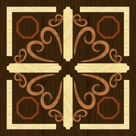 Wood art inlay decorative ornament, geometric patterns from dark and light exotic wood in antiquarian style, vector EPS10 Иллюстрация