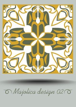 Faience ceramic tile in nostalgic ocher and olive green design with white glaze. Classic ceramic majolica. Traditional vintage spanish pottery product with multicolored geometric ornament. Vector EPS 10