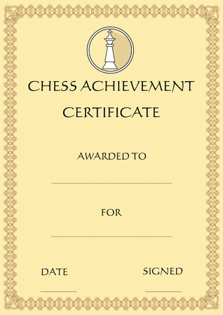 Chess achievement certificate, template on old designed beige paper, emblem with chess king piece in circle, filigree patterned outline frame, Vector EPS 10