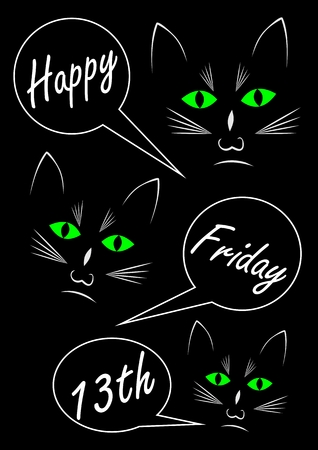 Three black cats on black background. Text in callouts,