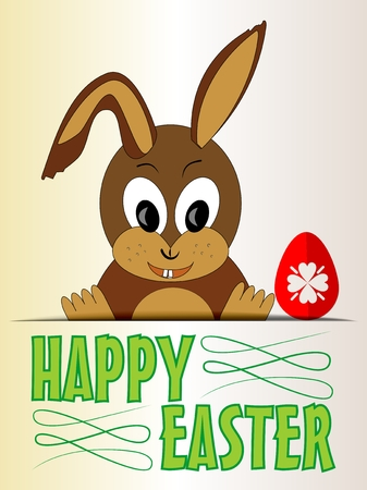 Cute Easter bunny with red egg cartoon on old beige paper Illustration