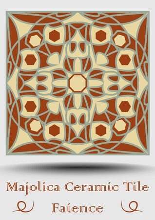 Faience tile. Decorative ceramic tile in beige, olive green and red terracotta.