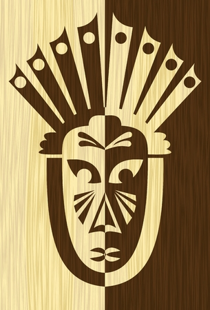 Wood art inlay tile with inverse carved face mask Vector Illustration